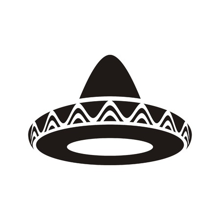 mariachi: Black vector mexican hat sombrero icon isolated