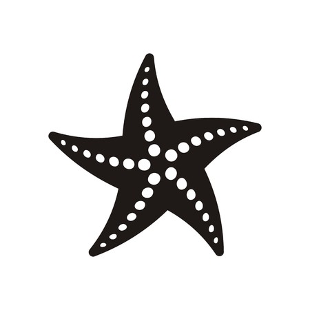 Black vector starfish icon isolated on white background Çizim