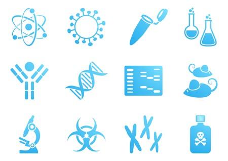 biologia molecular: Conjunto de azules modernos iconos de la ciencia de la biolog�a molecular Vectores
