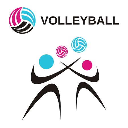 beach ball girl: Abstract volleyball woman and man icons