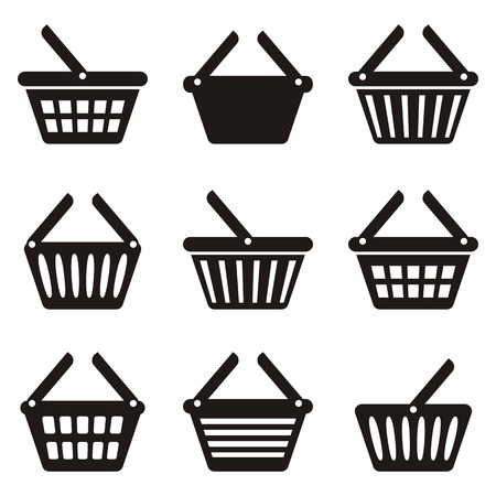 add to basket: Black shopping basket icons collection on white background