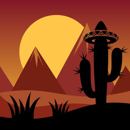 Cactus plant silhouette and mountains on sunset background Vector