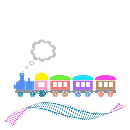 puffing: Cute colorful retro train with waved track isolated Illustration