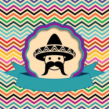 Mexican in sombrero label on ethnic zigzag background Vector