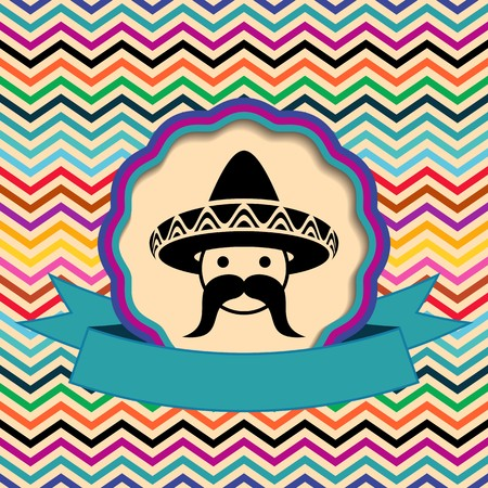 Mexican in sombrero label on ethnic zigzag background
