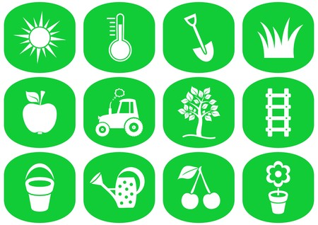 White gardening icons collection in green squares Vector