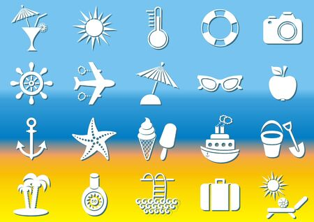 White summer icons collection on beach background Vector