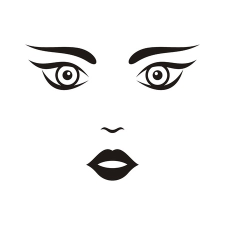 Beautiful black woman face vector illustration isolated