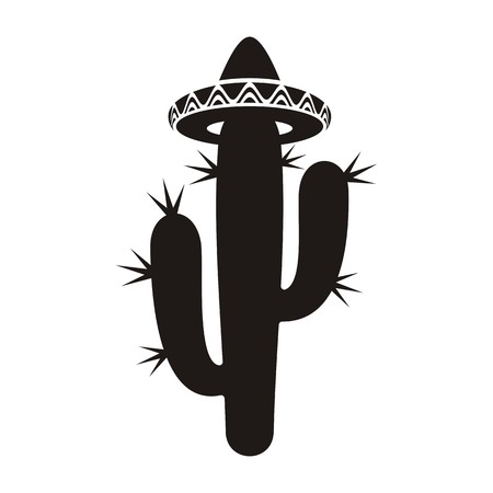 Black desert cactus silhouette with sombrero isolated Vector