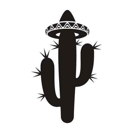 cactus flower: Black desert cactus silhouette with sombrero isolated