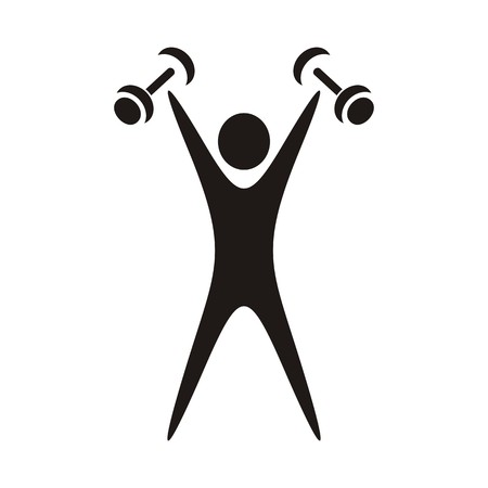 Black exercising figure with dumbbells on white background