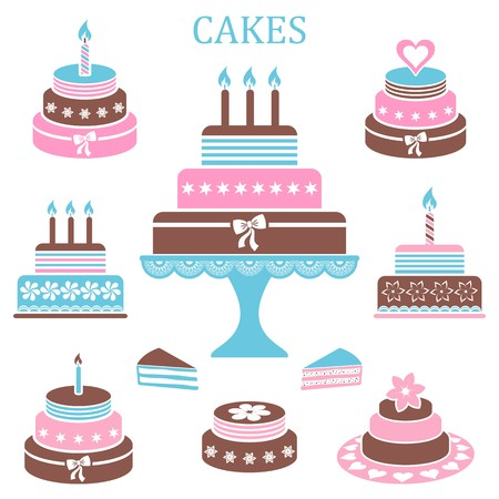 Colorful birthday and wedding cakes collection
