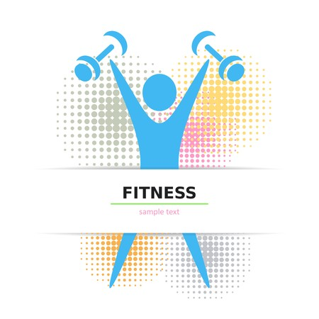 cardio workout: Colorful fitness card with figure and halftone design Illustration