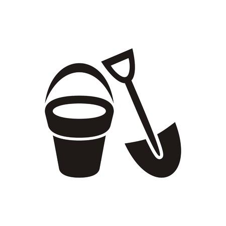 sandbox: Cute black shovel and bucket icon isolated Illustration