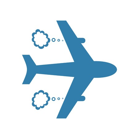 Cute blue airplane icon isolated on white background
