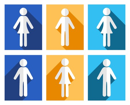 Man and woman flat design colorful icons Vector