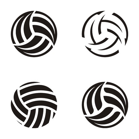 Set of black volleyball ball abstract icons
