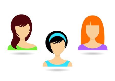 black hair blue eyes: Three women icons with various hair styles