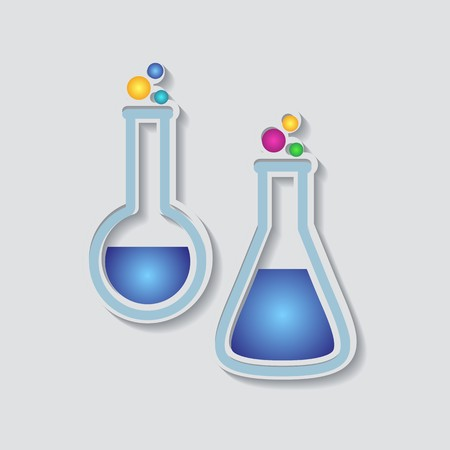 Two colorful test tubes isolated on grey background