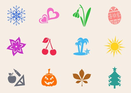 Colorful calendar month symbols collection on white background Vector