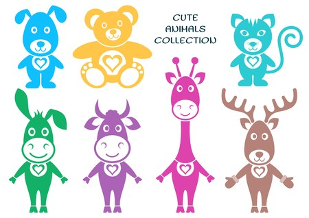 Cute colorful vector animals silhouette icons with heart Vector