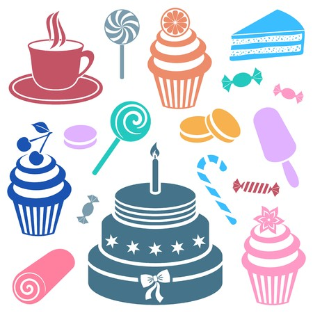 Colorful desserts and sweets icon vector silhouette collection