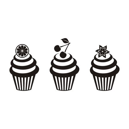 cupcakes isolated: Vector illustration of three isolated black cupcakes Illustration