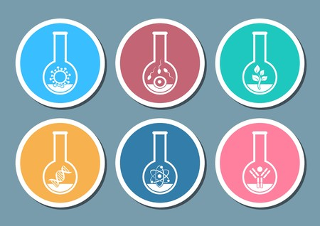 Colorful molecular biology science icons in test tubes Vector
