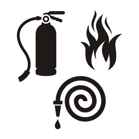 firefighting: Set of black fireman icons on white background Illustration