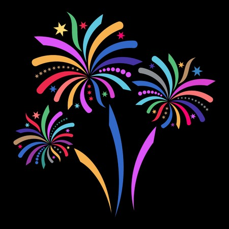 Beautiful colorful firework isolated on black background Vector