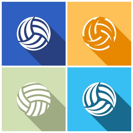Set of various volleyball ball icons flat design Vector