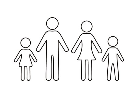 black family: Simple black family outline icon on white background Illustration