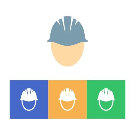 흰색 배경에 다채로운 하드 모자 아이콘 일러스트