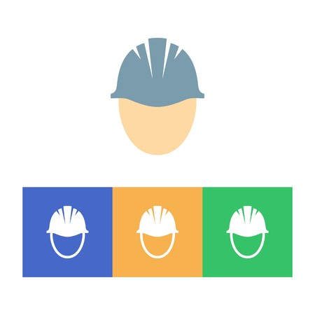 mining equipment: Colorful hard hat icons on white background