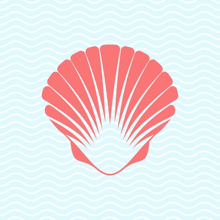 Red vector scallop seashell on blue marine background