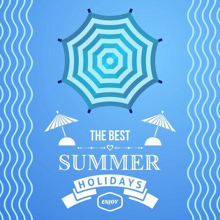 sonnenschirm: Blaue Sommerferien Plakatgestaltung mit Sonnenschirm Illustration
