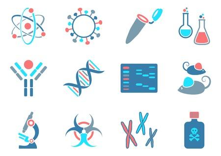biologia molecular: Biolog�a molecular iconos de la ciencia moderna colecci�n de cuatro colores