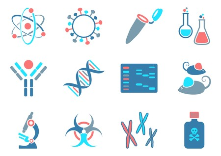 Modern molecular biology science icons collection four colors Stock Illustratie