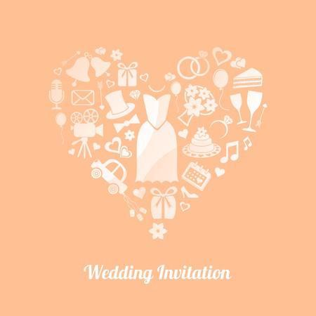 Apricot invitation card with white wedding symbols Vector