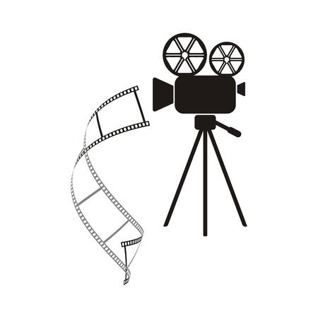 Black retro movie camera with curl film stripe