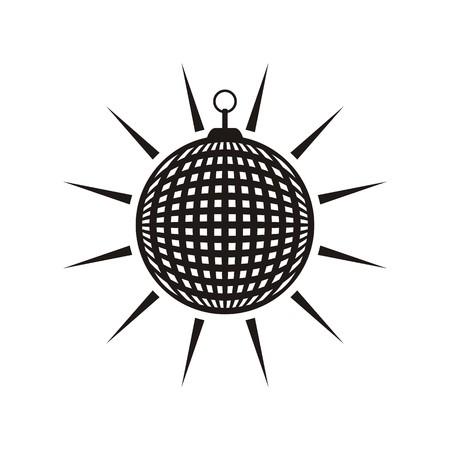 Black mirror disco ball icon isolated