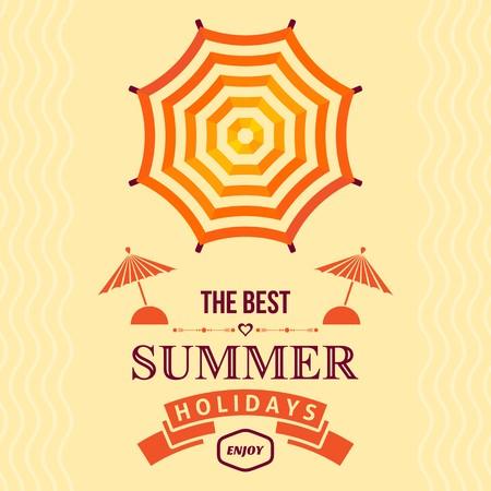 sonnenschirm: Orange Sommerferien Plakatgestaltung mit Sonnenschirm Illustration