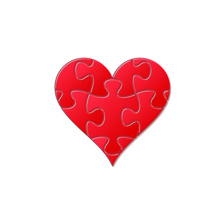 White heart made of puzzle pieces on red Vector