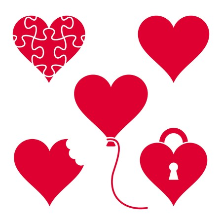 Set of various vector red heart icons isolated Vector
