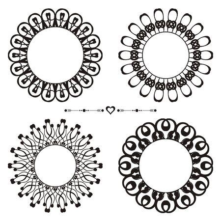 Set of vector vintage lace frame design elements Vector