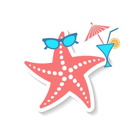 seafish: Summer holiday funny starfish isolated on white background