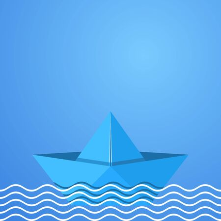 Blue vector paper origami boat in sea waves Illustration