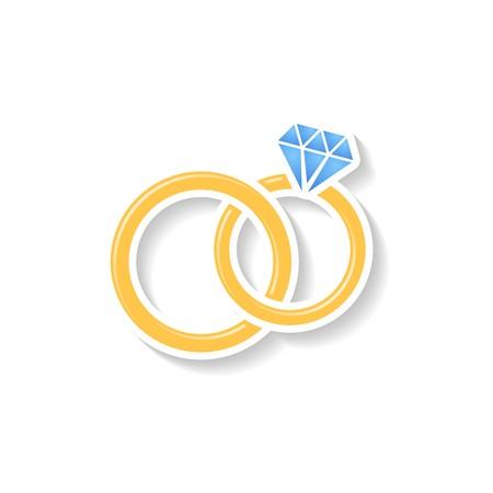 Golden vector wedding rings icon on white background Ilustracja