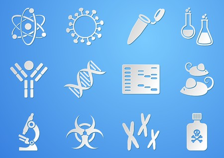 biologia molecular: Conjunto de blancos modernos iconos de la ciencia de la biolog�a molecular