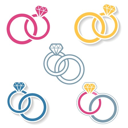 hand bell: Vector colorful wedding rings icons on white background